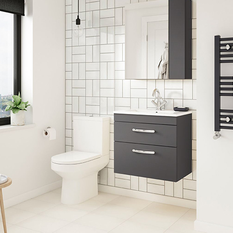 Brooklyn Gloss Grey Cloakroom Suite (Wall Hung Vanity + Close Coupled Toilet)