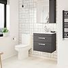 Brooklyn Gloss Grey Cloakroom Suite (Wall Hung Vanity + Close Coupled Toilet) profile small image view 1