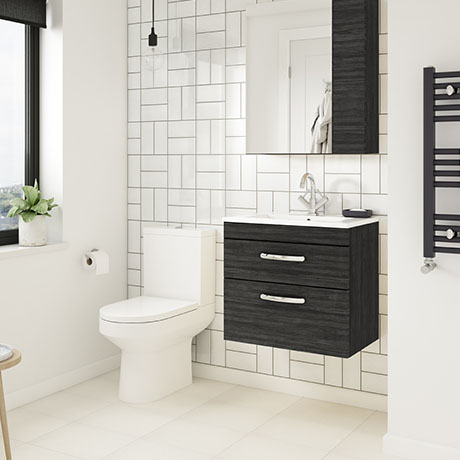 Brooklyn Hacienda Black Cloakroom Suite (Wall Hung Vanity + Toilet)