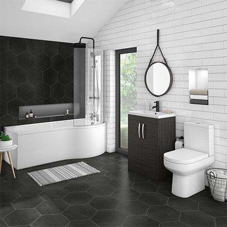 Brooklyn Hacienda Black Bathroom Suite + B-Shaped Bath