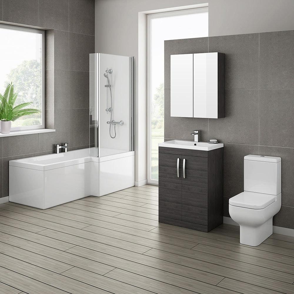 Brooklyn Hacienda Black Bathroom Suite with L-Shaped Bath