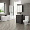 Brooklyn Hacienda Black Bathroom Suite with L-Shaped Bath profile small image view 1
