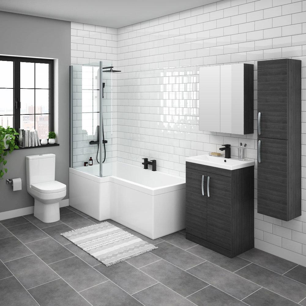 Brooklyn Hacienda Black L Shaped Bath Suite (with Vanity + Tall Cabinet)