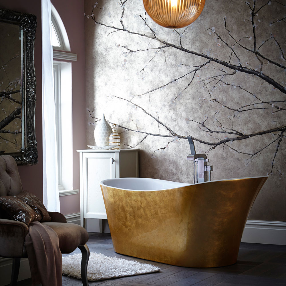 Heritage Holywell Freestanding Acrylic Bath (1710 x 745mm) - Gold Effect Feature Large Image