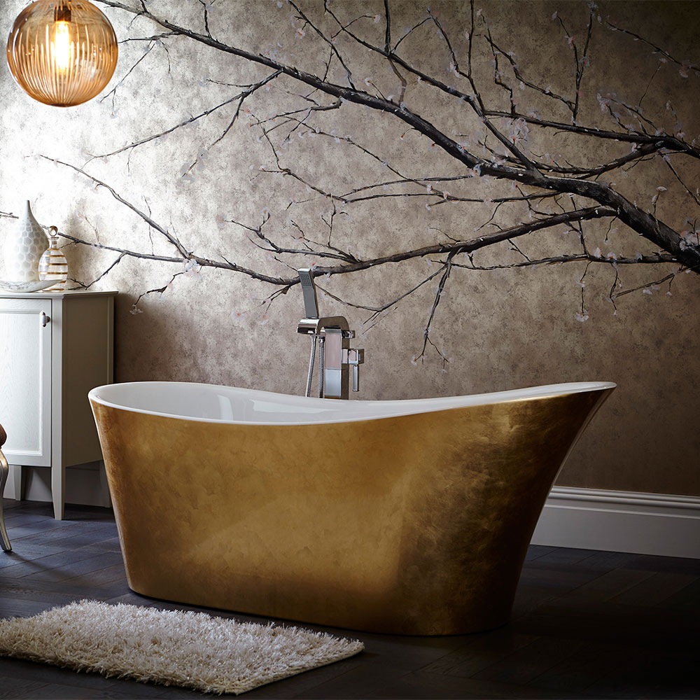 Heritage Holywell Freestanding Acrylic Bath (1710 x 745mm) - Gold Effect Large Image