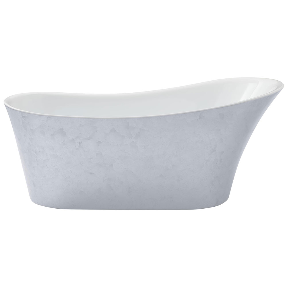 Heritage Holywell Freestanding Acrylic Bath (1710 x 745mm) - Stainless Steel Effect Large Image