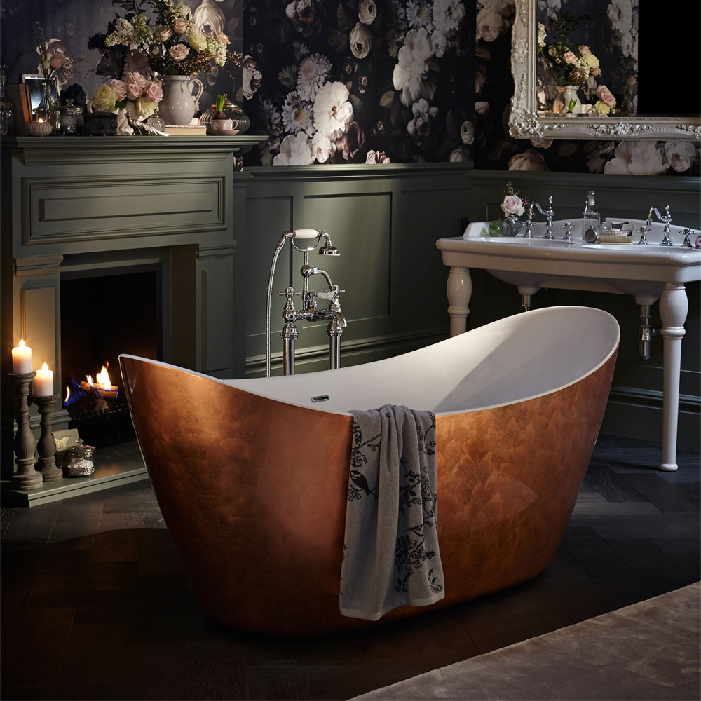 Heritage Hylton Freestanding Acrylic Bath (1730 x 730mm) - Copper Effect Feature Large Image