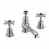 Burlington Birkenhead Black 3TH Basin Mixer with Pop-up Waste profile small image view 1