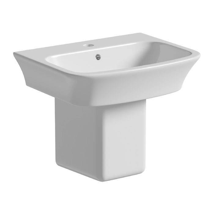 Tissino Bianca 56cm Basin + Semi-Pedestal (1 Tap Hole) profile large image view 1