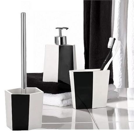 Wenko bicolour bathroom accessories set black white at for Victorian bathroom accessories set