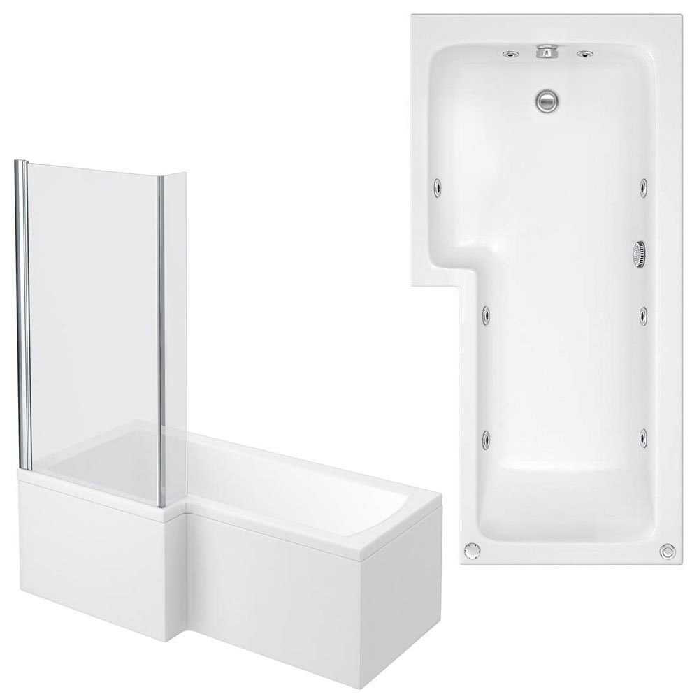 Laguna Whirlpool Spa 8 Jet L-Shaped Shower Bath + Screen