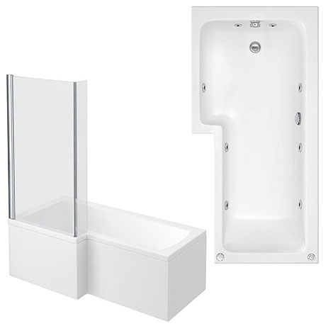 Laguna Whirlpool Spa 8 Jet L-Shaped Shower Bath + Screen