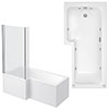 Laguna Whirlpool Spa 8 Jet L-Shaped Shower Bath + Screen profile small image view 1