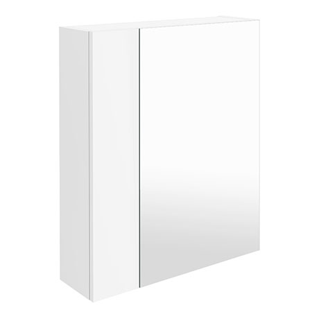 Brooklyn 600mm Gloss White Bathroom Mirror & Fascia Cabinet