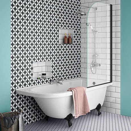 Appleby 1700 Roll Top Shower Bath with Matt Black Screen + Leg Set