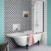 Appleby 1700 Roll Top Shower Bath with Matt Black Screen + Leg Set profile small image view 1