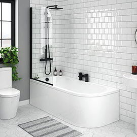 J-Shaped Shower Bath (1700mm with Matt Black Screen + Curved Panel)