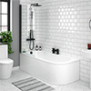 J-Shaped Shower Bath (1700mm with Matt Black Screen + Curved Panel) profile small image view 1