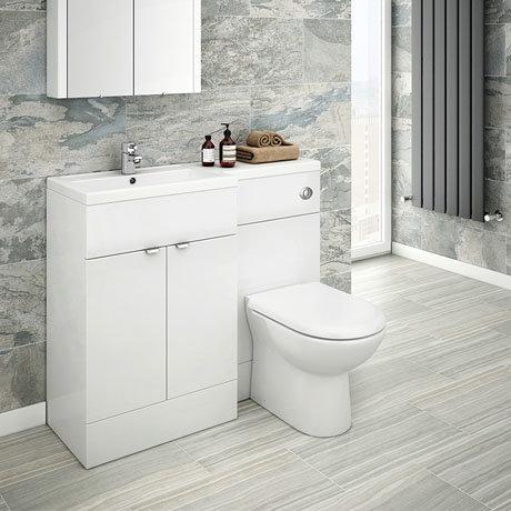 Brooklyn 1100mm White Gloss Combination Furniture Pack