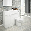 Brooklyn 1100mm White Gloss Combination Furniture Pack profile small image view 1