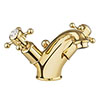 Crosswater Belgravia Unlacquered Brass Crosshead Basin Monobloc Tap with Pop-up Waste - BL110DPQ profile small image view 1
