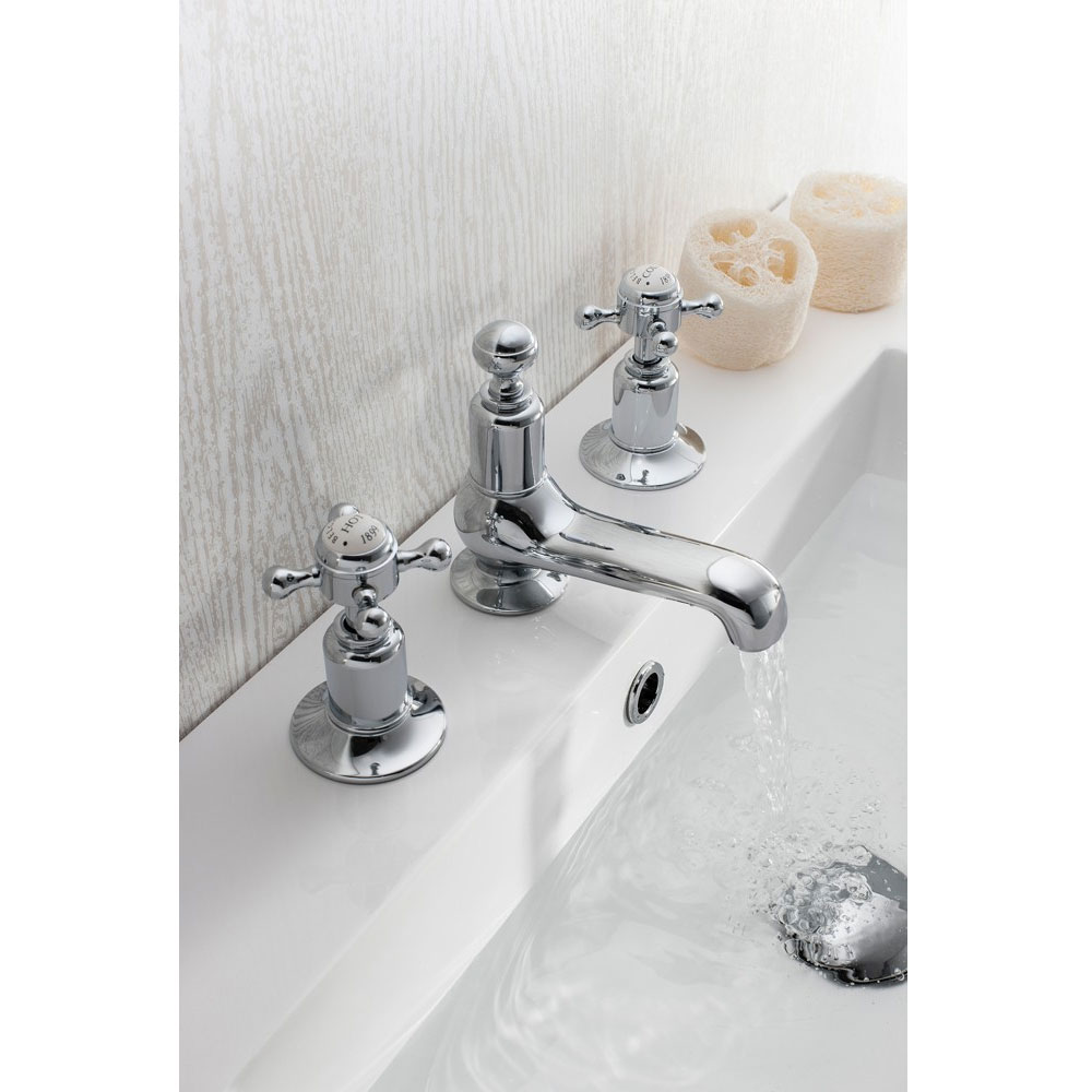 Crosswater - Belgravia Crosshead 3 Tap Hole Basin Mixer - BL130DPC Feature Large Image