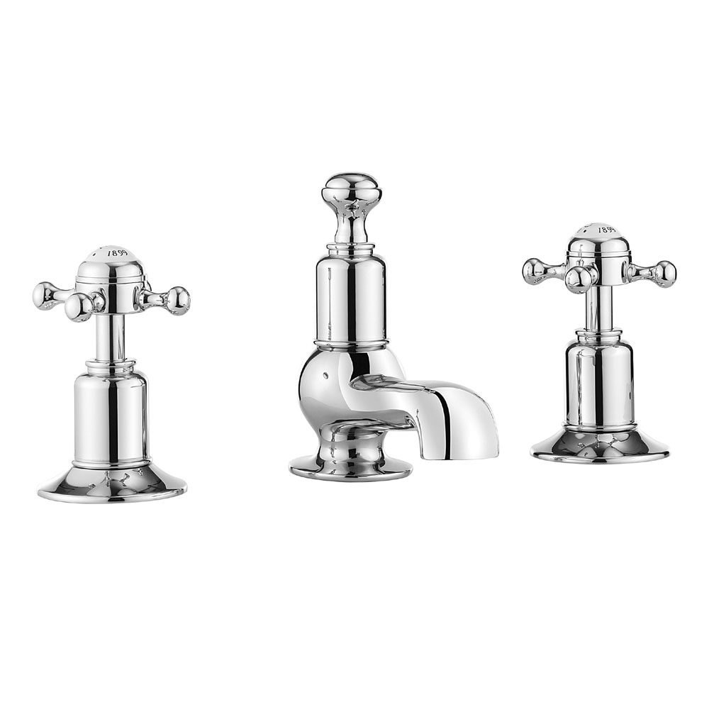 Crosswater - Belgravia Crosshead 3 Tap Hole Basin Mixer - BL130DPC profile large image view 1
