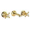 Crosswater Belgravia Unlacquered Brass Crosshead Wall Mounted 3 Hole Set Basin Mixer - BL131WNQ profile small image view 1