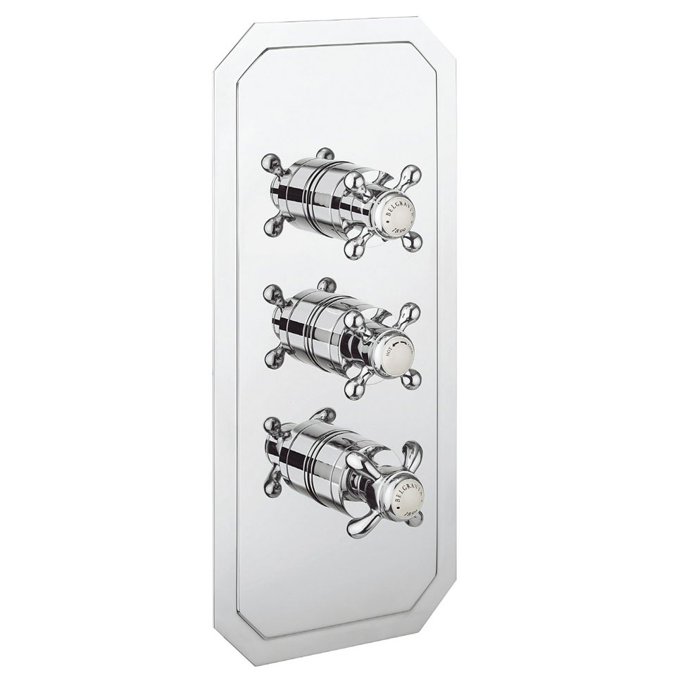Crosswater - Belgravia Crosshead Triple Thermostatic Shower Valve with 3 Way Diverter Large Image