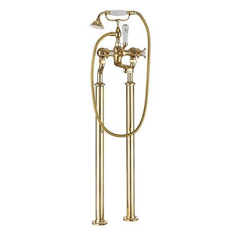 Crosswater Belgravia Unlacquered Brass Crosshead Floor Mounted Freestanding Bath Shower Mixer