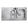 Rangemaster Baltimore 1.5 Bowl Stainless Steel Kitchen Sink profile small image view 1