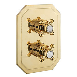 Crosswater Belgravia Unlacquered Brass Crossbox 3 Outlet Trim Set