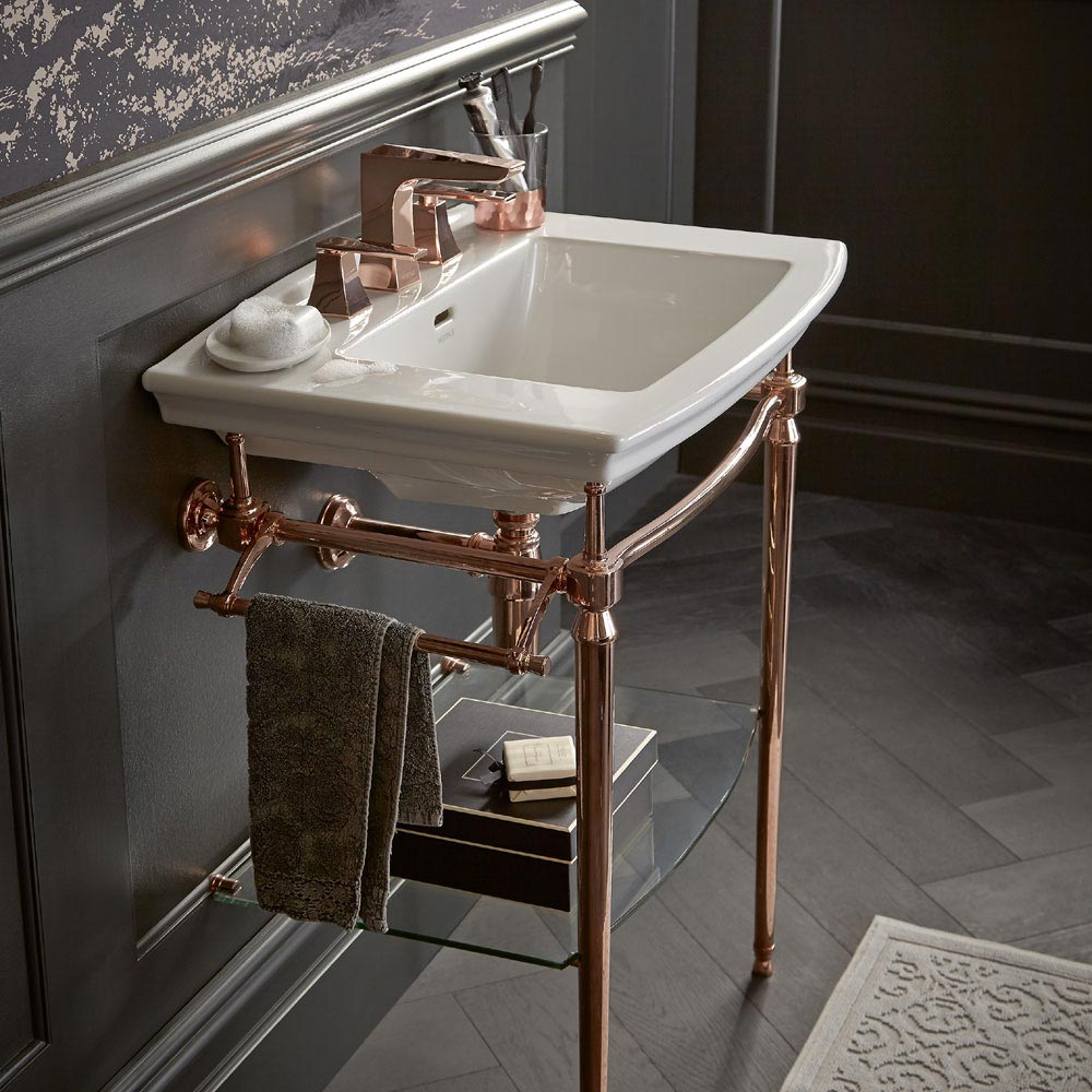 Heritage Abingdon Blenheim Basin & Washstand - Rose Gold  Profile Large Image