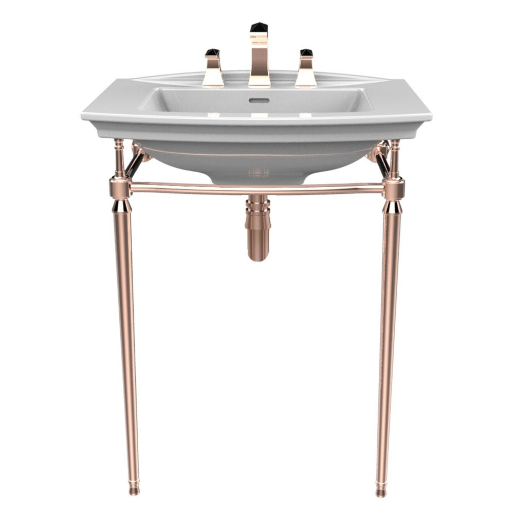 Heritage Abingdon Blenheim Basin & Washstand - Rose Gold Large Image