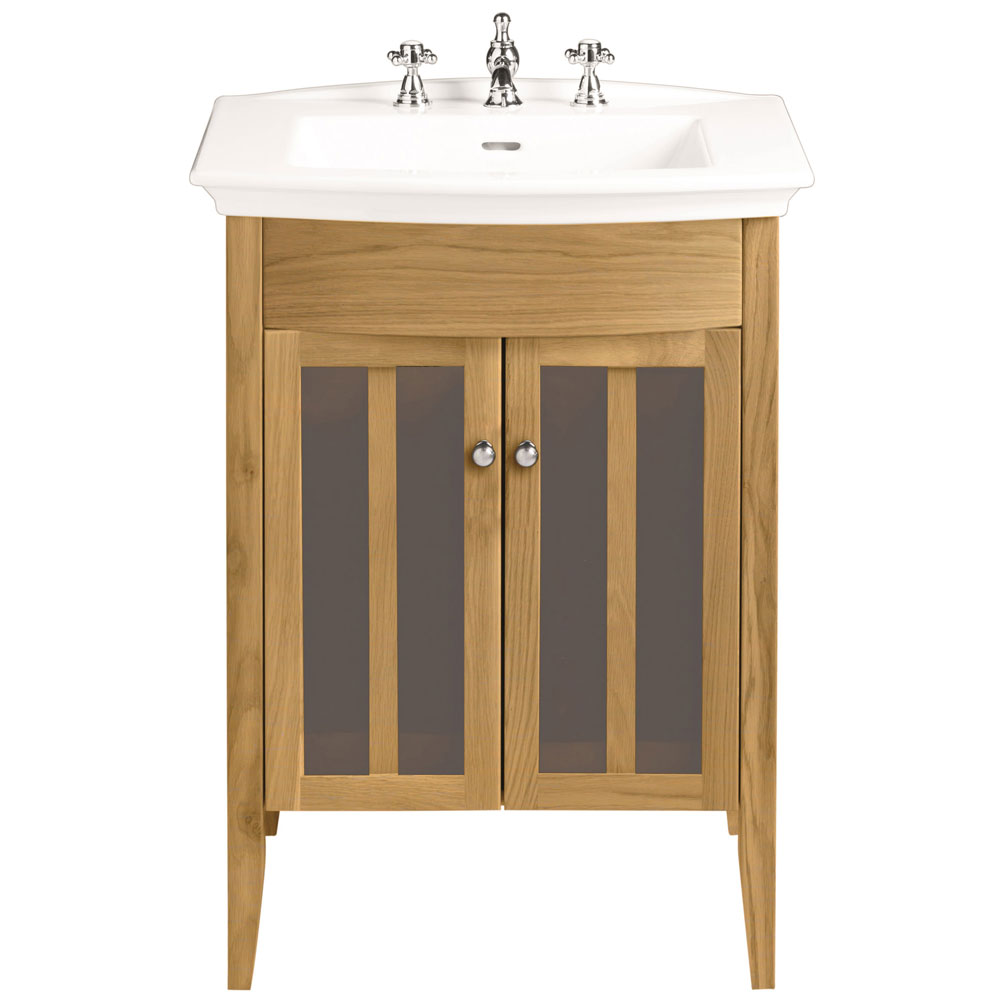 Heritage - Hidcote Freestanding Blenheim Vanity Unit with Chrome Handles & 3TH Basin - Oak Large Image