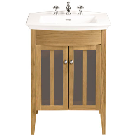 Heritage - Hidcote Freestanding Blenheim Vanity Unit with Chrome Handles & 3TH Basin - Oak