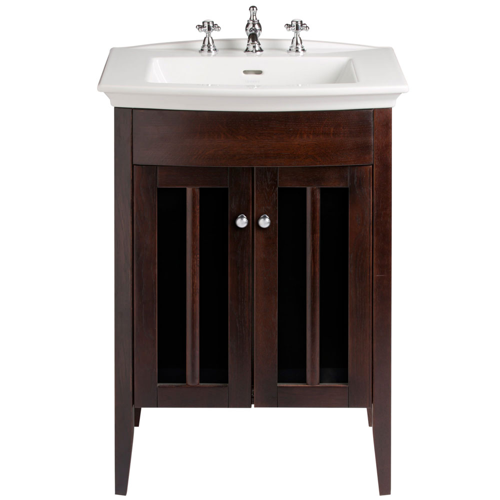 Heritage - Hidcote Freestanding Blenheim Vanity Unit with Chrome Handles & 3TH Basin - Walnut Large Image