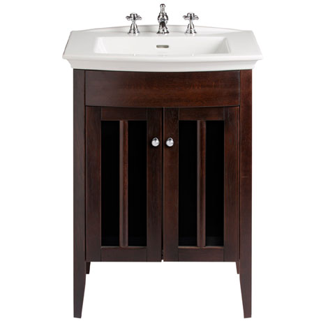 Heritage - Hidcote Freestanding Blenheim Vanity Unit with Chrome Handles & 3TH Basin - Walnut