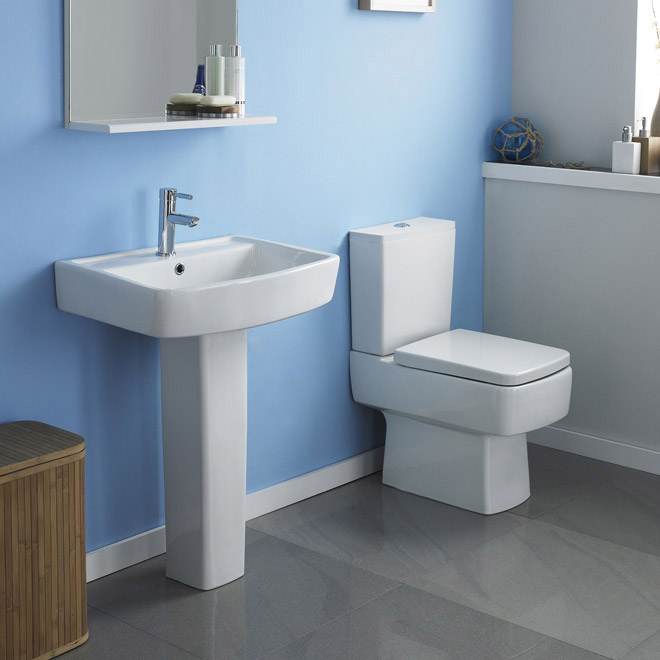 Bliss Modern Double Ended Curved Freestanding Bath Suite - 2 Basin Size Options Feature Large Image