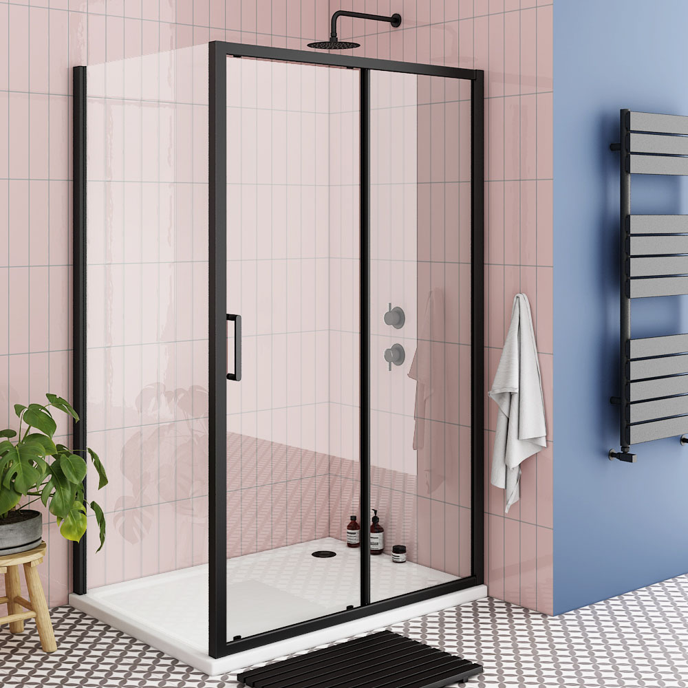 Turin Matt Black 1000 x 800mm Sliding Door Shower Enclosure + Pearlstone Tray