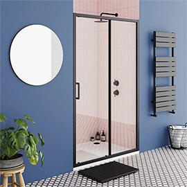 Turin Matt Black 1000 x 1850 Sliding Shower Door
