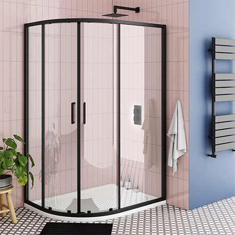 Turin Matt Black 1200 x 800mm Offset Quadrant Shower Enclosure