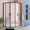 Turin Matt Black 1200 x 800mm Offset Quadrant Shower Enclosure profile small image view 1
