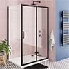 Turin Matt Black 1200 x 800mm Sliding Door Shower Enclosure + Pearlstone Tray profile small image view 1