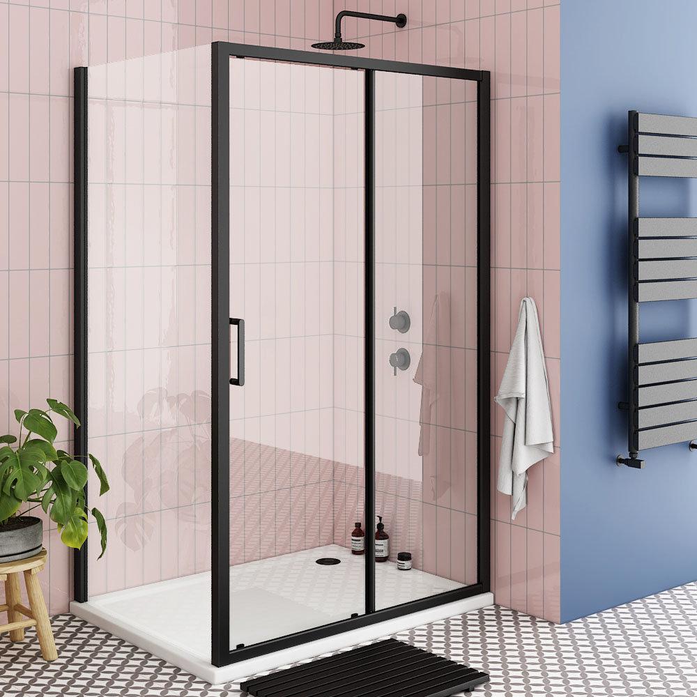 Toreno Matt Black 1200 x 900mm Sliding Door Shower Enclosure + Pearlstone Tray