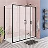 Toreno Matt Black 1400 x 800mm Double Sliding Door Shower Enclosure + Pearlstone Tray profile small image view 1