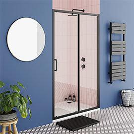 Turin Matt Black 1400 x 1850 Sliding Shower Door