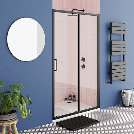Turin Matt Black 1400 x 1850 Sliding Shower Door