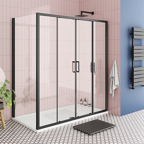 Turin Matt Black 1700 x 700mm Double Sliding Door Shower Enclosure + Pearlstone Tray
