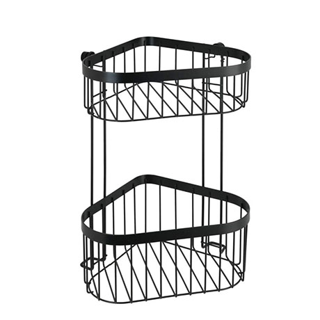 Black 2-Tier Corner Wire Shower Basket
